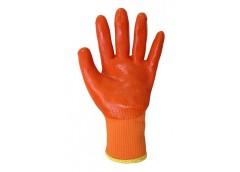 Рукавиці махрові, утеплені, помаранчеві з помаранчевим силіконовим покритям 6987...
