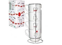 Набір чайний 4 шт. 320 мл.Cat Story чашка на підставці 021-04-06 SnT (6)