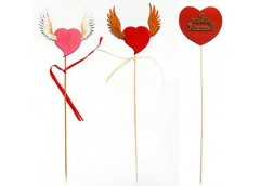 Сердце з крилами або з підписом 3D на топері в асортим