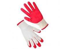 Рукавиці бавовняні білі з червоним латексним покритям  69245 SEVEN (12)