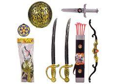 Набір пірата в кул. 4 предм  2 мечі, щит, ніж, лук, стріли 25*65см. 7161 (24/48)...