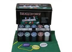 Покерний набір на 200 фішок в метал. короб + поле 62003