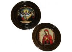 Картина деревяна кругла ікона 35см