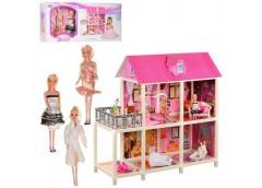 Будинок  в кор. для ляльки 102*41*105см. 2 пов. ляльки 3 шт. 28см. мебель 84*36*...