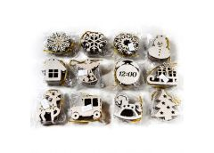 Іграшки новорічні деревяні підвіски малі (5-6см) /уп