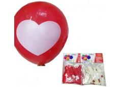 Шарік Balloons червоні і білі з сердечками 12дюйм 2,5гр за упак 8047-26/31367