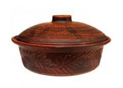 Сковорода з кришеою 24см майоліка резная глиняна ШР-9475