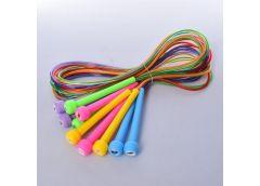 Скакалка 240 см. ручки пластик, жгут резина, 5 кол.  MS 0687 (300)