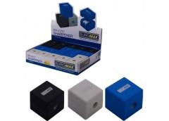 Точилка CUBE  RUBBER TOUCH, 1 отв, контейнер, пласт. асорті кольорів BM 4757 (1/...