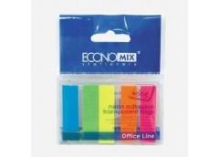 Стікер ECONOMIX закладка пласт 5кол по 25 неонов зак Е 20945 (20/40/2160)