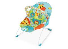 Шезлонг дитячий, муз. вібро, дуга, підвіс. жираф, голубий  6875 (1)