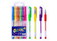 Набір ручок 6 кол гель неонові 108-6