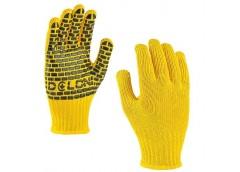Рукавиці Doloni Х/Б Будівник жовті з ПВХ малюнком 4078 (5/200)