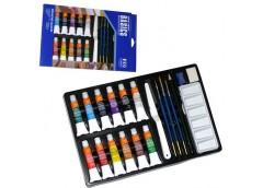 Фарби гуаш Basic 12к по 12мл кісточки, палітра мастихін олівець точилка ластик W...