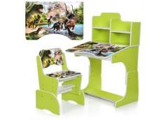 Парта регул висот зі стульчиком 4 положення, 69-47см, салатова , Динозавр  B 207...