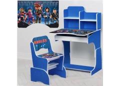 Парта регул висот зі стульчиком 4 положення, 69-47см, синя , Roblax  W 2071-96-5...