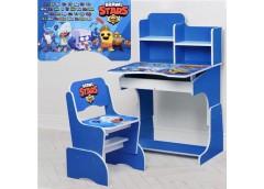 Парта регул висот зі стульчиком 4 положення, 69-47см, синя , Brawl Stars  W 2071...