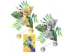 Іграшка новорічна листочками з бусінками 13см 8639 (336)