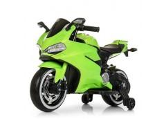 Мотоцикл 2двигуна 25W 1акум 12V/9AH руч.газа, рез.кол., муз.кож.сид. USB. TF.зелен M 4104ELS-5 (1)