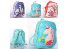Рюкзак дитячий, 1 від. застіб. блискавка, 4 вид. (єдиноріг, лама) в кул. 22*19*8...