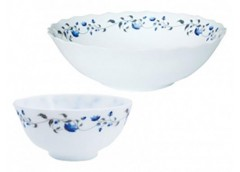 Набір салатників  склокераміка 7 шт  Синя квітка JLG075/S (1/6) ІНТР